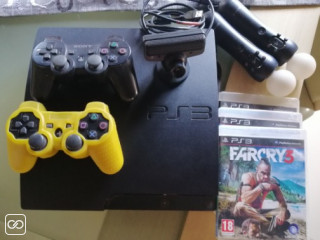 PLAYSTATION 3/2 MANETTES/2 PS MOVE/3 JEUX
